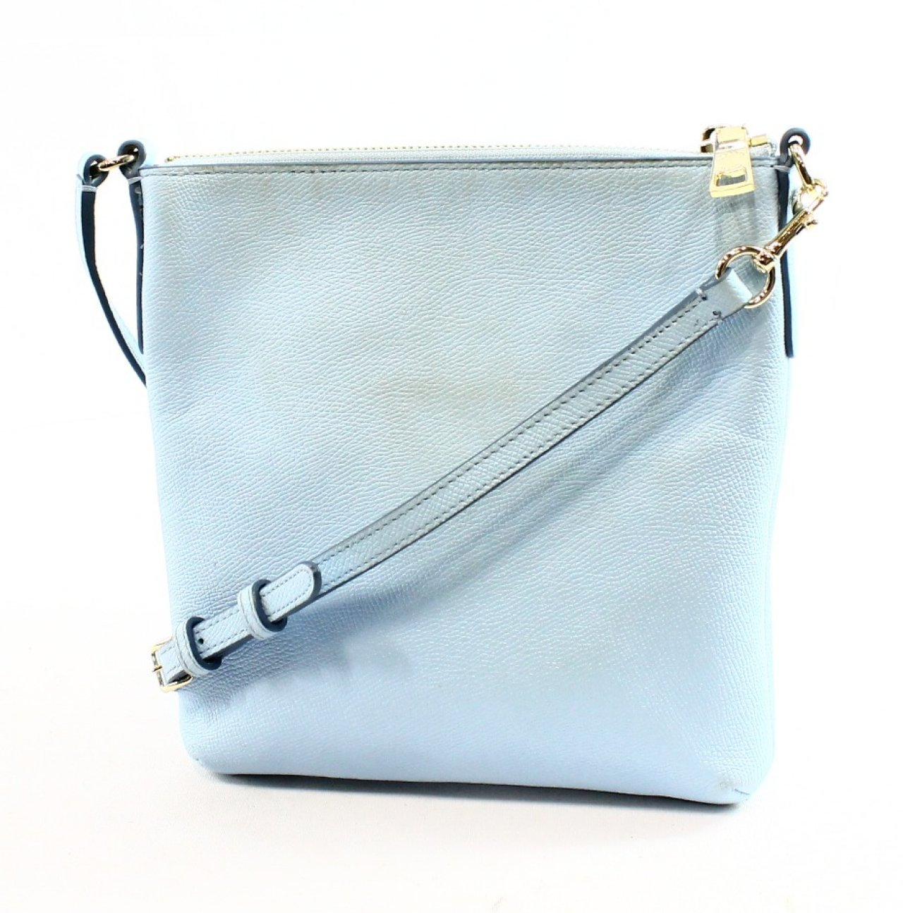 Coach Pale Blue Embossed Pebble Leather Swingpack Crossbody Bag Purse ...