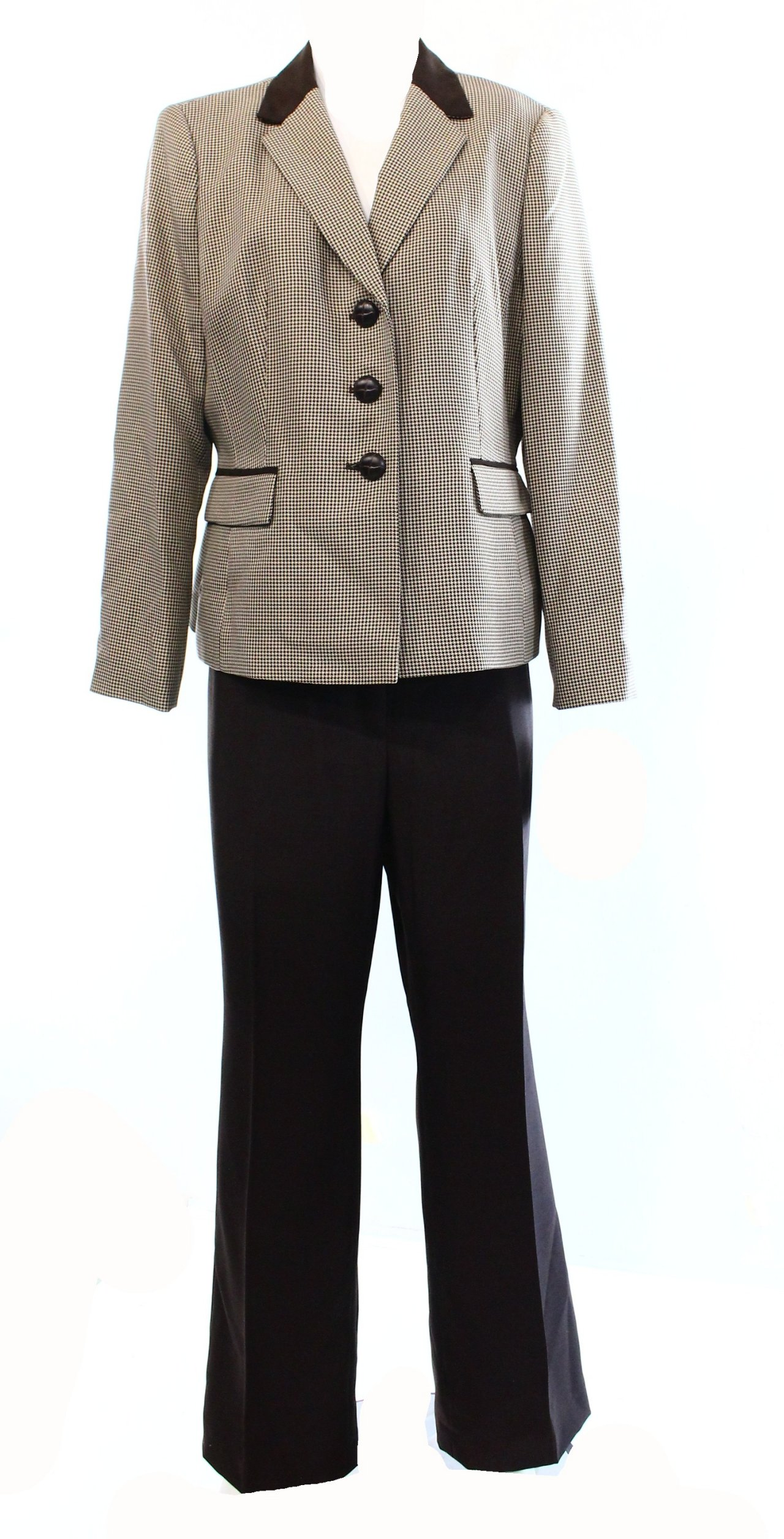 Le Suit Brown Houndstooth Career Two Pocket Womens 14p