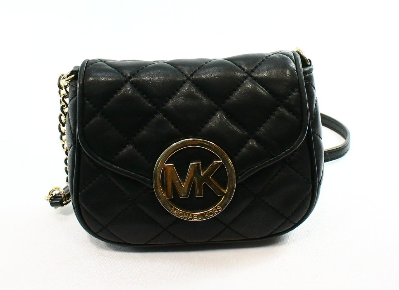 Michael Kors Black Leather Quilted Fulton Small Crossbody