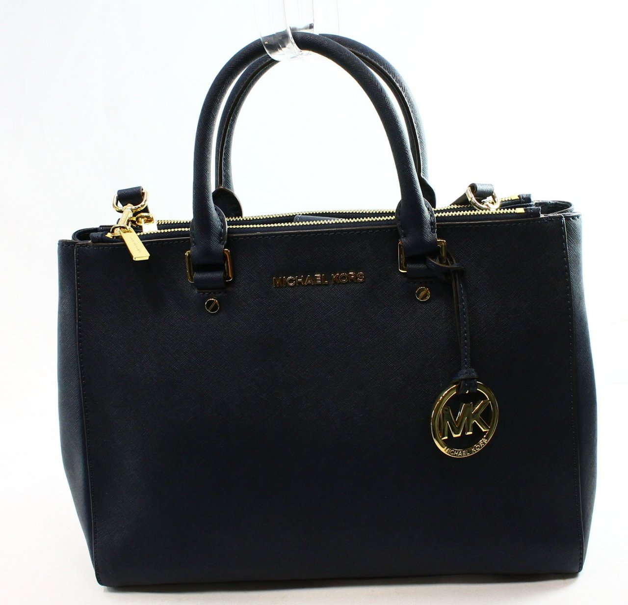 Michael Kors Blue Navy Saffiano Leather Sutton Large Satchel BAG Purse ...