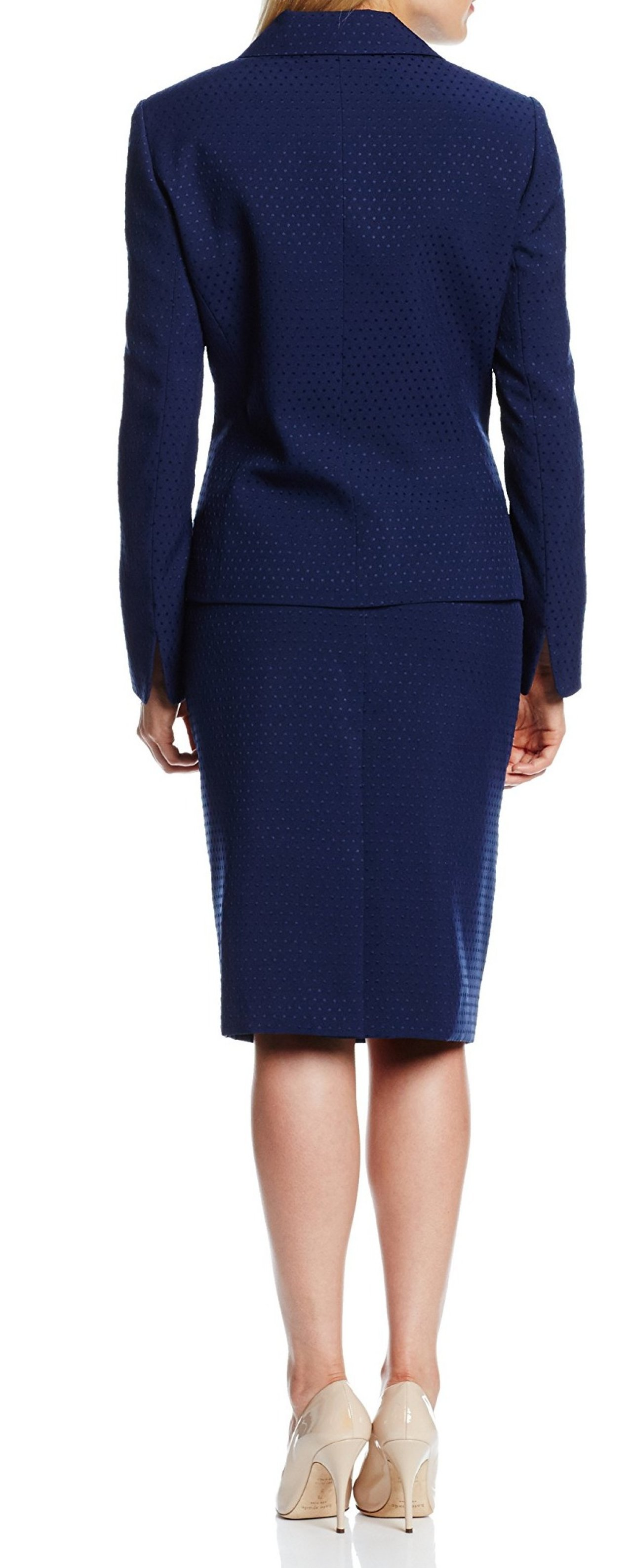 le suit new navy blue womens size 6 polka dot pencil