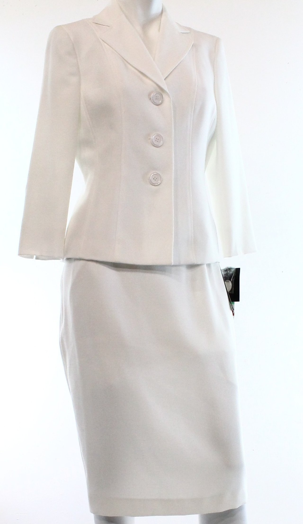 le suit new white s size 6 textured pencil skirt