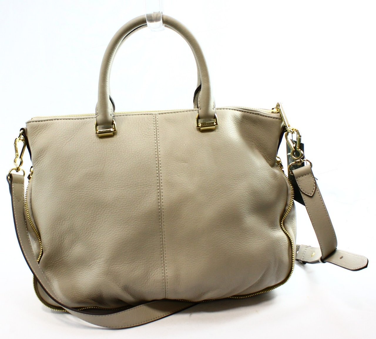Vince Camuto New Gray Driftwood Leather Dean Shoulder