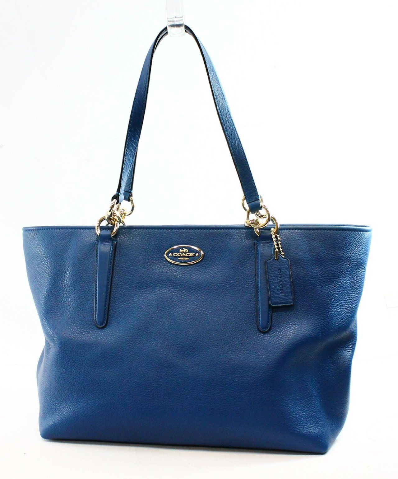 Coach NEW Blue Denim Pebble Leather Zip Top Ellis Handbag Tote Purse  ...
