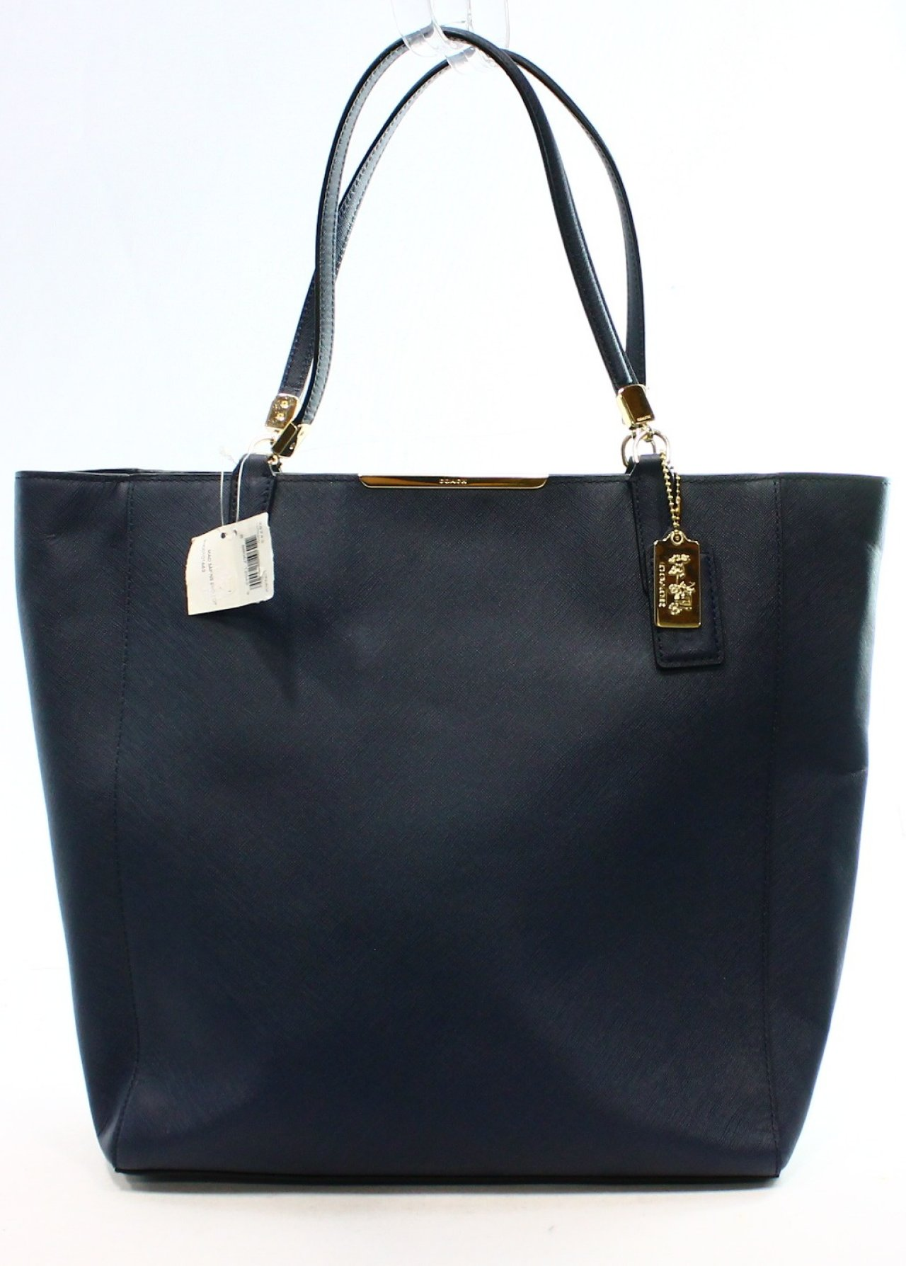 Coach NEW Blue Navy Madison Saffiano Leather NS Zip Top Tote Bag Purse ...