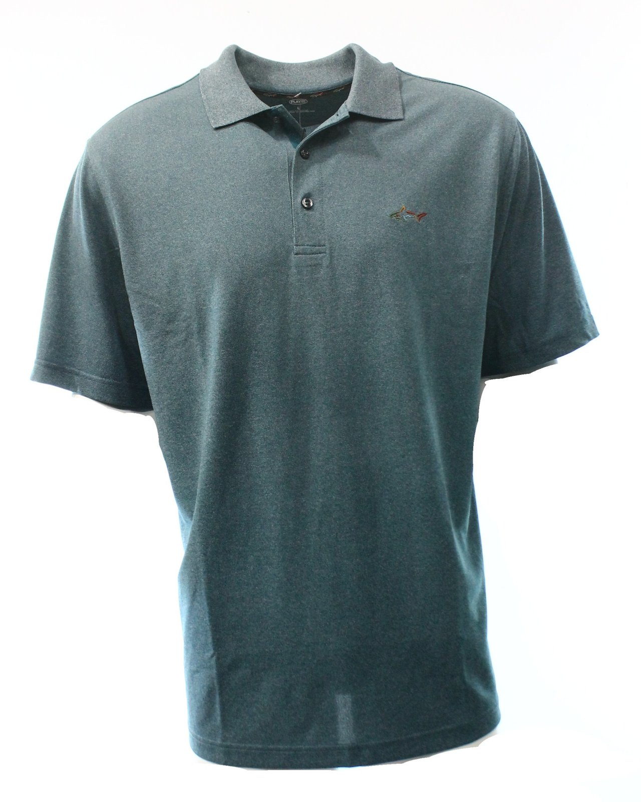 Greg norman new teal bayou heather blue mens us size small for Mens teal polo shirt