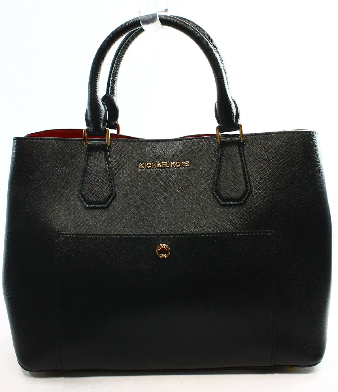 michael kors new black saffiano large greenwich handbag. Black Bedroom Furniture Sets. Home Design Ideas