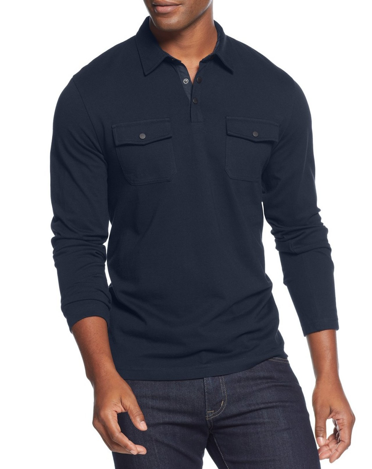 Alfani new neo navy blue mens 4xlt long sleeve two pocket for Xlt long sleeve polo shirts