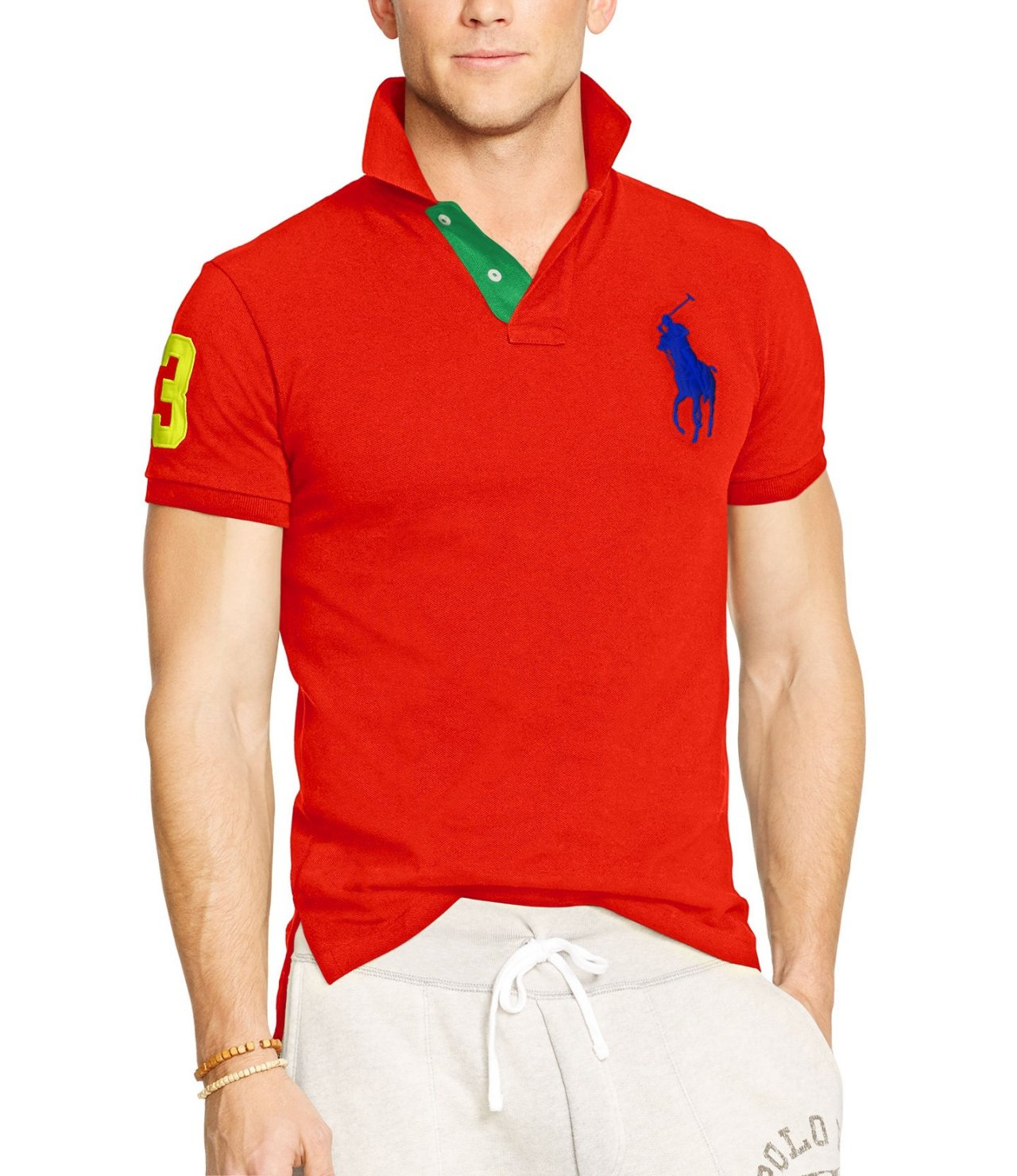 Ralph Lauren Men White Big Pony Short Sleeved Red Polo