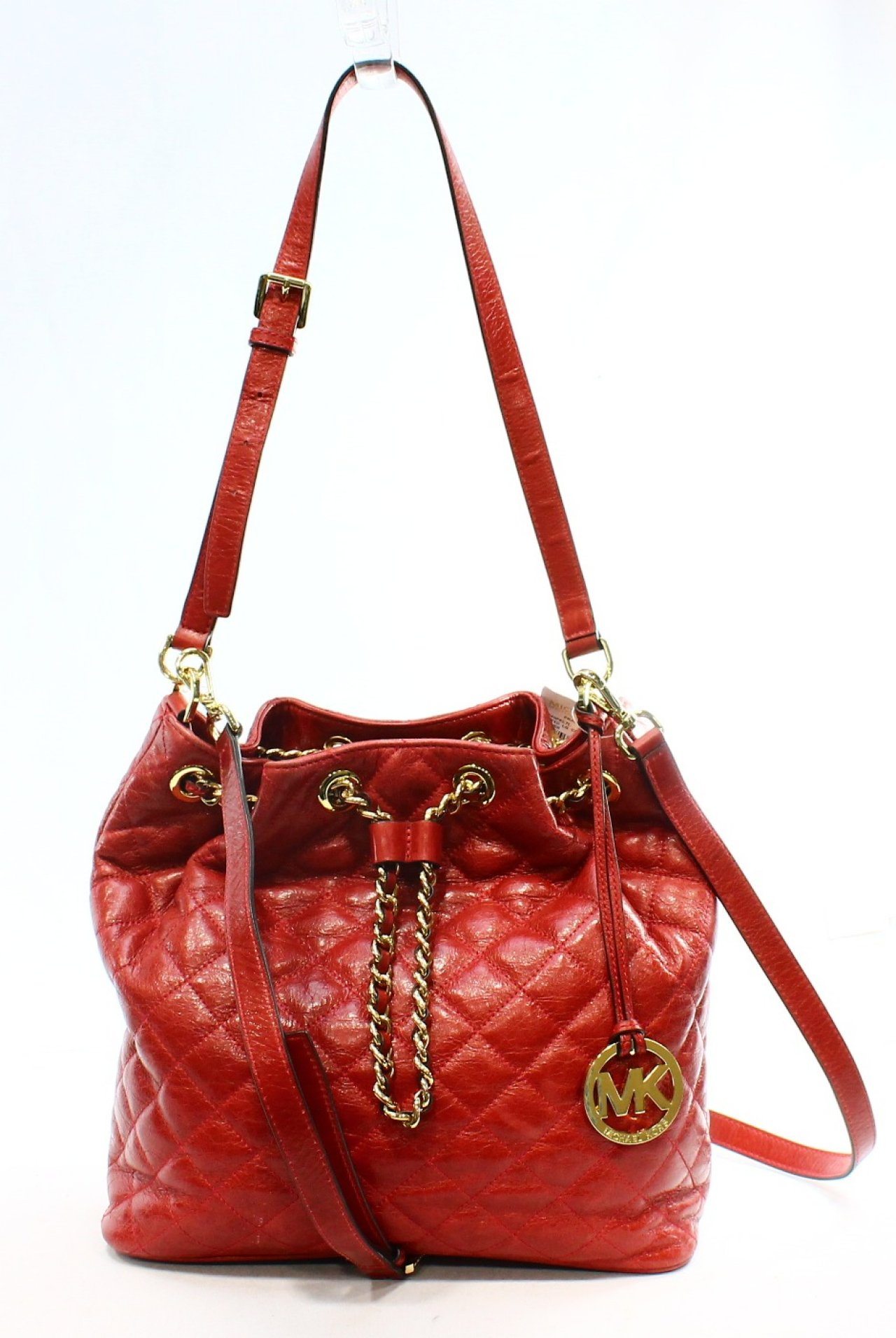 Michael Kors Dark Red Leather Quilted Frankie Large